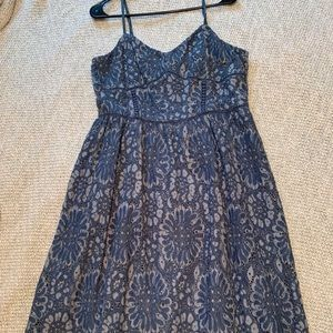 Loft lace dress in dusty blue.